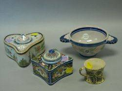 Continental Faience Inkwell Quimper Faience Inkwell and Bowl and a Childs Transfer Decorated Mug