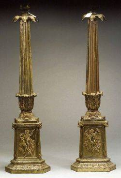 Pair of Tall Empirestyle Giltmetal Candlesticks