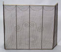 Brass and Wirework Tall Folding Fire Fender