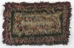 Wool Yarn Stitched Geometric Shag Rug