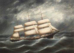 Pun Woo Hong Kong Active 1880s Portrait of the Ship ISSAC REED