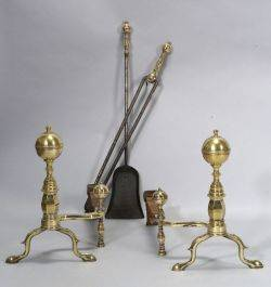 Brass and Iron Balltop Andirons with Matching Tools