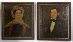 American School 19th Century Pair of Portraits of a Rhode Island Couple