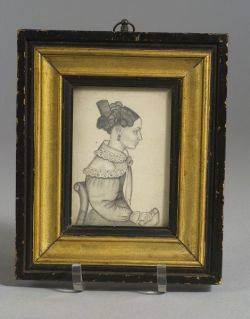 American School 19th Century Miniature Portrait of a Seated Woman Holding a Book