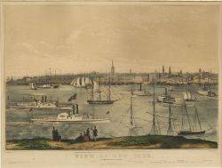 Nathaniel Currier publisher American 18131888 View of New York From Brooklyn Heights