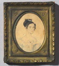 American School 19th Century Miniature Portrait of a Young Woman Wearing a White Dress