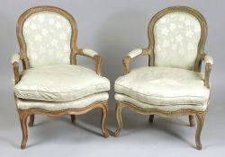 Pair of Louis XV Style Painted Beechwood Fauteuils en Cabriolet
