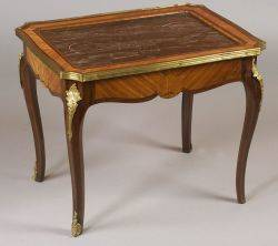 Louis XV Style Marbletop Gilt Bronze Mounted Tulipwood Low Occasional Table
