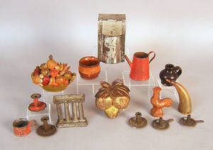 Group of miniature table articles to include tin