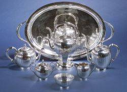 Sixpiece American Sterling Tea and Coffee Service with Royal Danish Tea Tray