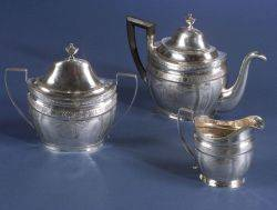 New York Federal Coin Silver Three Piece Tea Service