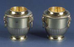 Pair of Diminutive Goldwashed Silverplated Wine Coolers