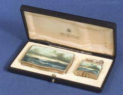 Silver and Enamel Tobacco Box and Lighter for Alfred Dunhill Ltd