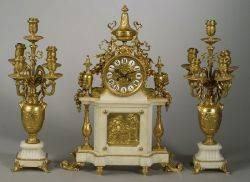 Three Piece Louis XVIstyle Gilt Bronze and Marble Barbedienne Clock Garniture