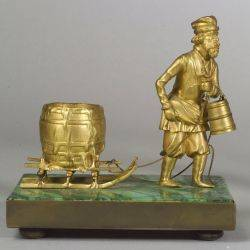 Continental Gilt Bronze and Malachite Figure