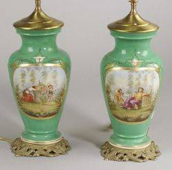 Pair of Paris Porcelain Vase Lamp Bases