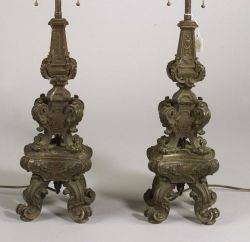 Pair of Bronze Renaissance Revival Lamp Bases
