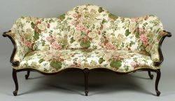 George III Carved Mahogany Camelback Sofa