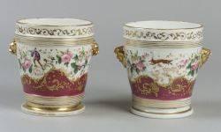 Near Pair of Paris Porcelain Enamel Decorated and Parcel Gilt Cache Pots