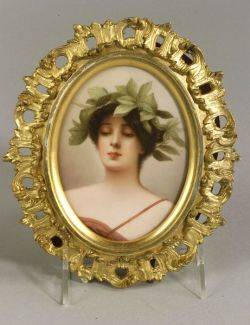 German Porcelain Portrait Plaque of a Classical Woman in a Laurel Wreath