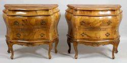 Pair of Italian Rococostyle Walnut TwoDrawer Diminutive Bombe Commodes