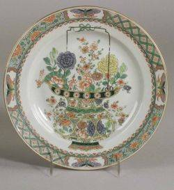 Set of Eight French Chinoiseriestyle Porcelain Luncheon Plates