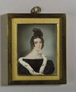 Portrait Miniature on Ivory of a Lady in Ermine Trimmed Robe