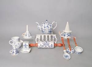 Group of Blue Onion pattern porcelain