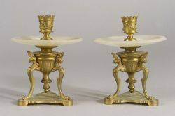 Pair of French Second Empire Bronze and Alabaster Candlesticks