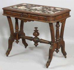 American Victorian Eastlake Walnut Center Table