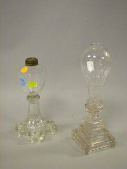 Two Colorless Sandwich Glass Fluid Lamps