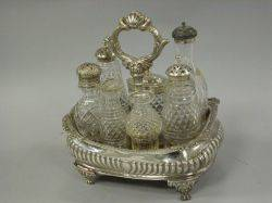 Assembled English Silver Plated and Crystal Cruet Set