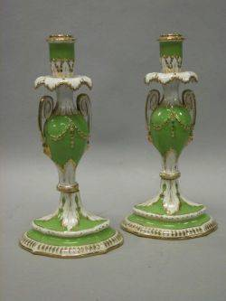 Pair of Dresden Porcelain Apple Green and Parcel Gilt Candlesticks