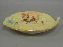 Royal Worcester Floral Decorated Leafform Porcelain Dish