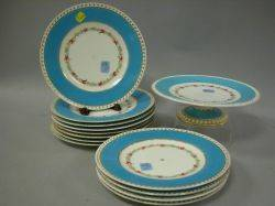 Set of Twelve Floral Decorated Porcelain Luncheon Plates and a Footed Cake Plate