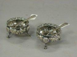 Pair of Gorham Sterling Silver Footed Salts with Spoons