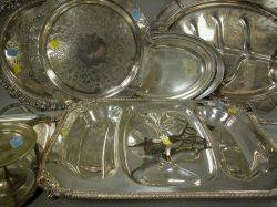 Seven Silver Plated Trays a Tazza and Wick Scissors