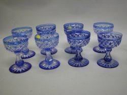Set of Eight Blue CuttoClear Glass Sherbets