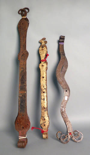 Two pair of large wrought iron hinges