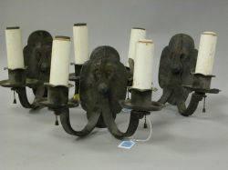 Set of Three R Clipton Sturgis Designed Wrought Iron Wall Sconces