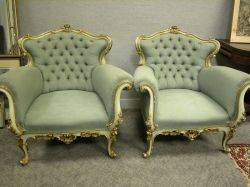 Pair of Louis XV Style Tufted Upholstered Gilt and Painted Bergeres