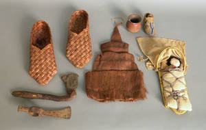 Group of Native American material to include a pair of Northwest coast moccasins