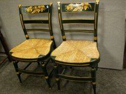 Pair of Painted and Gilt Stencil Decorated Fancy Side Chairs