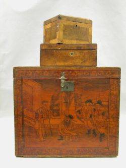 Maple Veneer Inlaid Document Box a Small Parquetry Box and a Chinese Penwork Decorated Storage Box