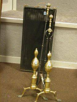 Pair of Federal Brass Double Lemontop Andirons a Fireplace Screen and a Pair of Fire Tools