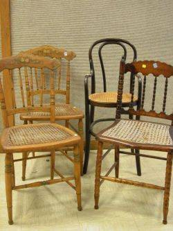Pair of Victorian Paint Decorated Side Chairs a J  J Kohn Bentwood Highchair and a Victorian Side Chair