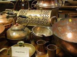 Lot of Assorted Brass and Copper Hearth and Cooking Items
