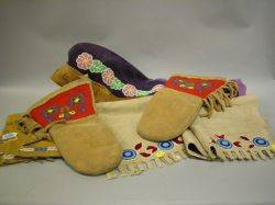 Four Native American Beaded Cloth and Leather Clothing Items