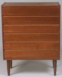 Scandinavian Modern Teak Veneer SixDrawer Chest