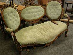Rococo Revival Carved Walnut and Upholstered Sofa